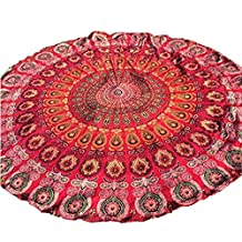 "Vinjeely Round Beach Towel Home Shower Blanket Mandala Hippie Gypsy Boho Throw Towel Tablecloth Bedspread Table Cover Wall Hanging Decor Beach Pool Bohemian Towel Throw Rug Tapestry Yoga Mat Perfect To Take Along To Outdoor Picnic & Beach 59"" (Red)"