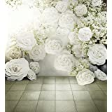 3D White Roses Background Romantic Flowers Wal Backdrop Wedding Photo Studio Wallpaper Fabric Vintage Floral Photography Backdrops 8x10ft
