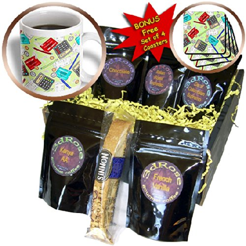 Janna Salak Designs Occupational Gifts - Accountant Themed Pattern Green - Coffee Gift Baskets - Coffee Gift Basket (cgb_185466_1)