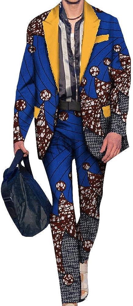 HIENAJ Mens Africa Wax Pattern Print Suits Includes Jacket Pants