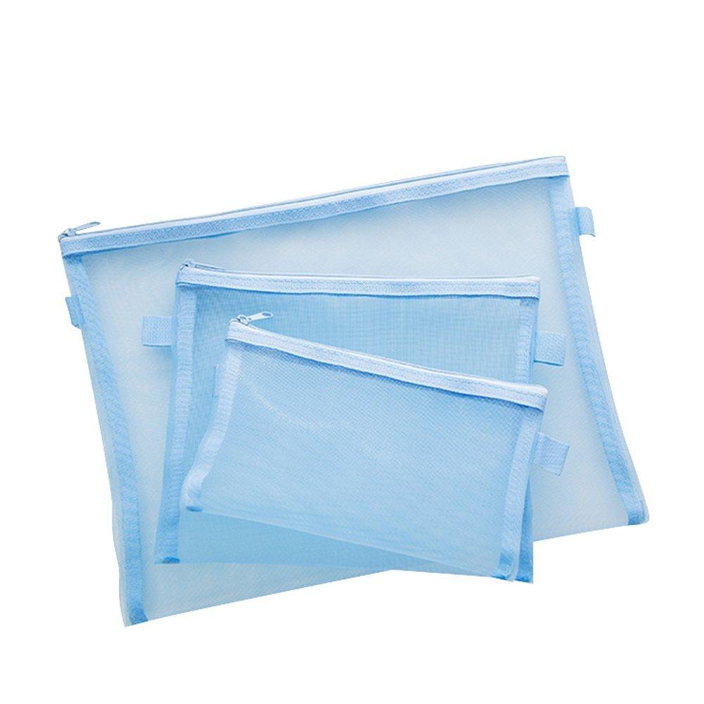 3x chytaii Pochette Bustina di documento cerniera trasparente in maglia rosa blu A4A5A6 A4 A5 A6 rose