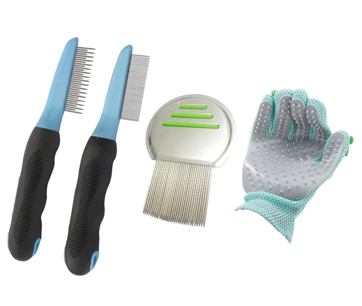 Amadam Pets Grooming Set of 4 for Dogs, Cats, Rabbits, Flea Lice Tick Comb, Shedding Comb, Pet Grooming Glove