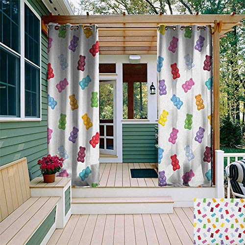 leinuoyi Kids, Outdoor Curtain Ties, Vibrant Colored Gummy Bears Candies Delicious Jelly Sugary Snack Chewy Sweet Taste, Outdoor Curtain Panels for Patio Waterproof W108 x L96 Inch Multicolor