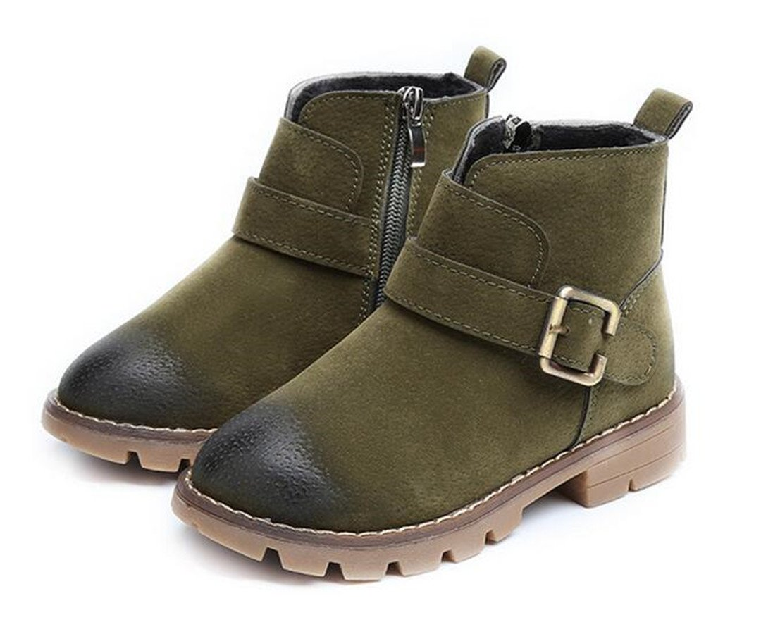 Bumud Kids Buckle Military Ankle High Low Heel Combat Boots Winter Warm Shoes (8 M US Toddler, Green)