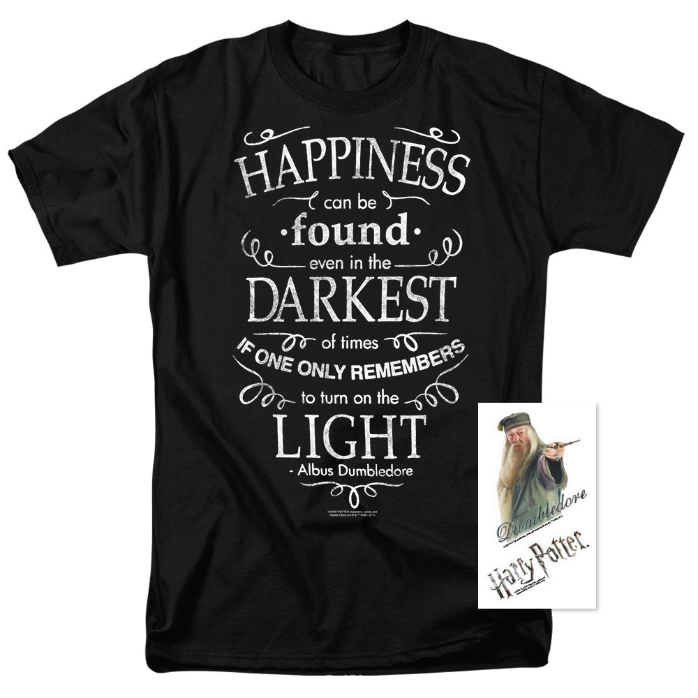 Popfunk Harry Potter Dumbledore Happiness Quote T Shirt (XXX-Large) Black