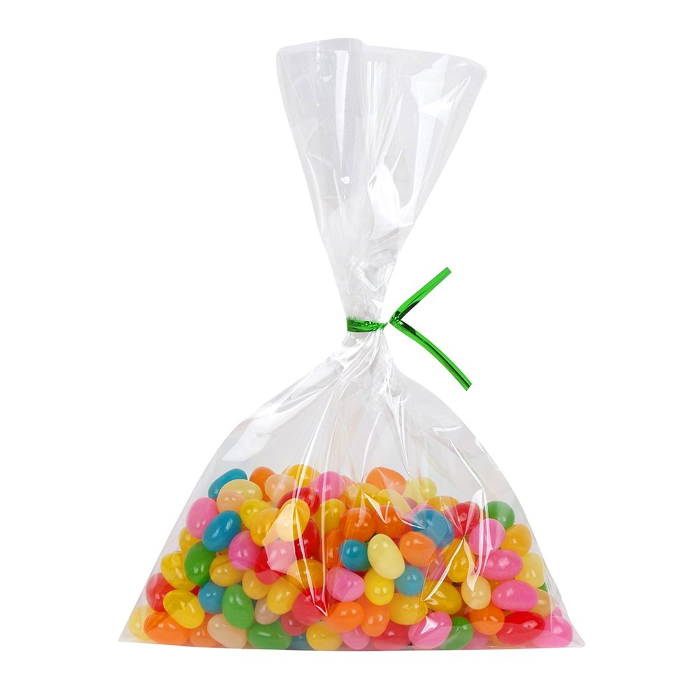 200 Clear Treat Bags 6x9 with 4'' Twist Ties 6 Mix Colors - Thick OPP Plastic Bags for Wedding Cookie Birthday Cake Pops Gift Candy Buffet Supplies by BakeBaking (Image #5)
