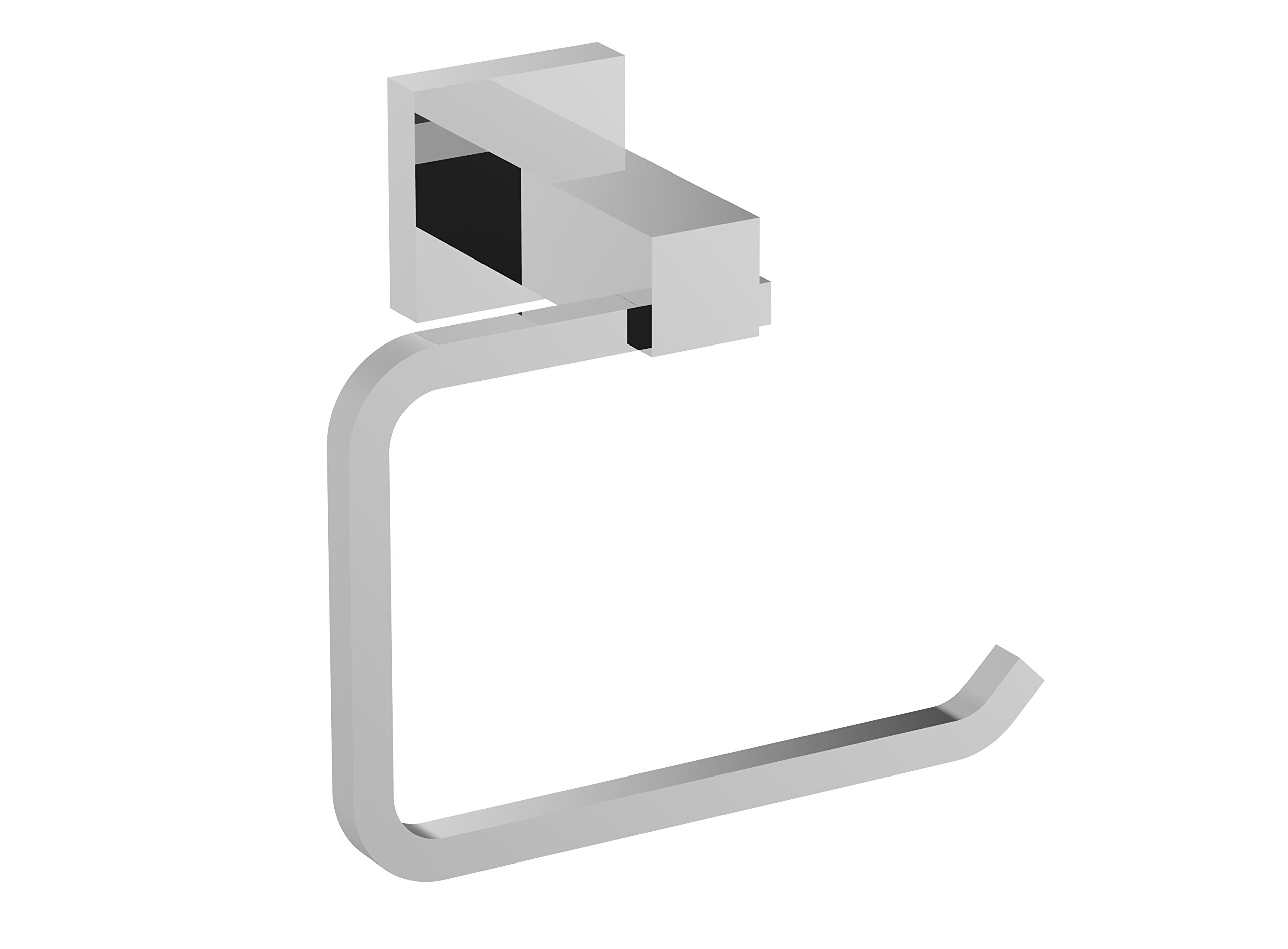 Eviva EVAC60BN Square Holdy Toilet Paper Or Towel Holder Bathroom Accessories Combination, Brushed Nickel