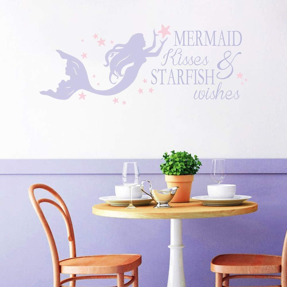 decalmile P/úrpura Sirena Vinilos Adhesivos Frases Pegatinas de Pared Mermaid Kisses /& Starfish Wishes Rosado Estrellas Habitacion Ni/ña Bebe Infantiles Dormitorio Vivero Decoraci/ón