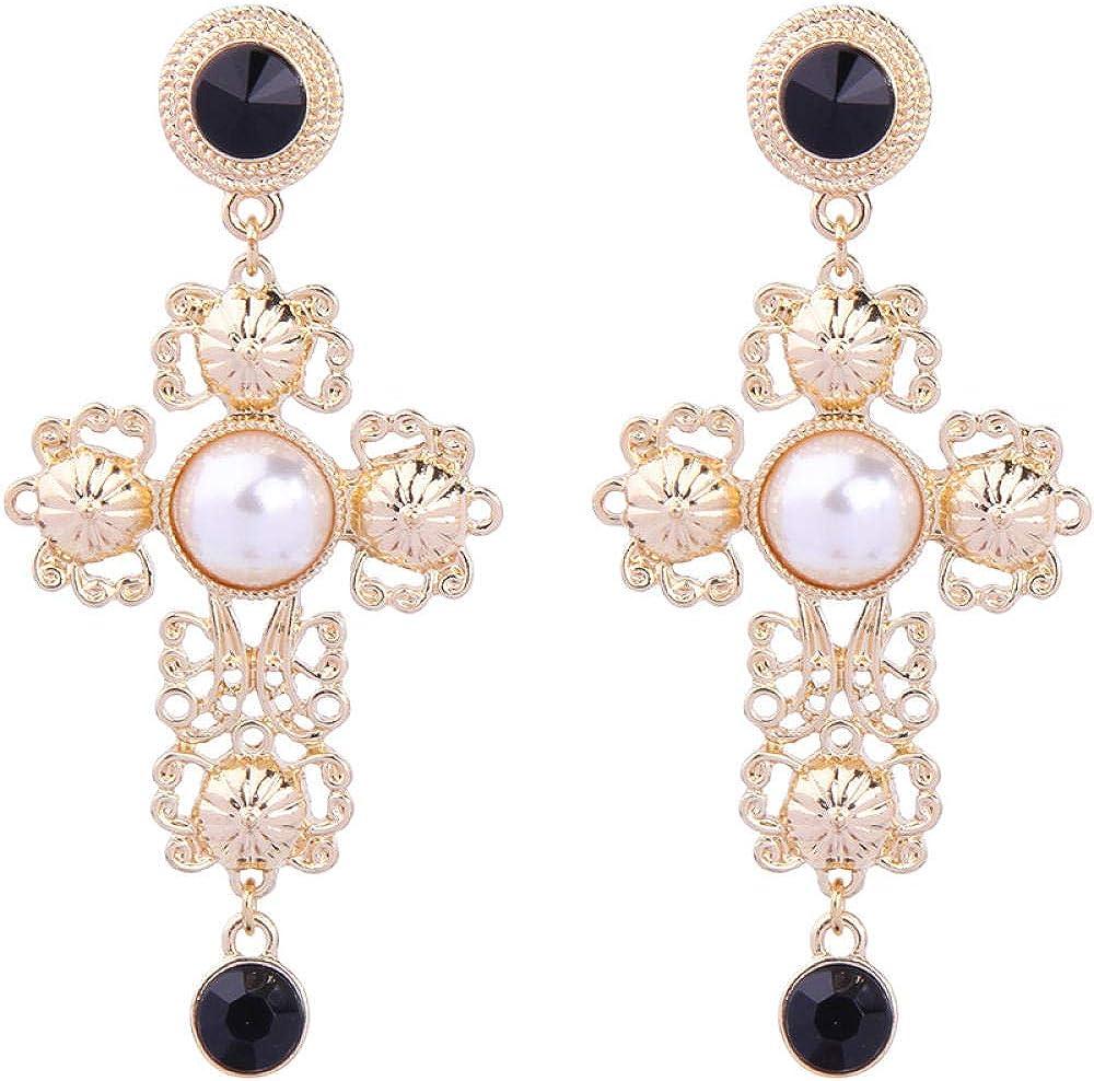 Pendientes De Mujer, Cruz De Perla, Colgante De Piedras Preciosas Negro, Barroco Vintage, Pendientes Con Recorte De Moda