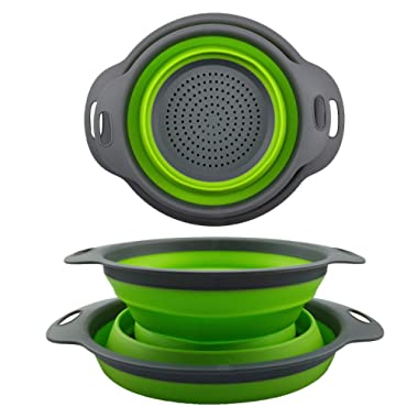 Collapsible Colander Set - 2 Folding Strainer Sizes 8  - 2 Quart and 9.5  - 3 Quart, Silicone Mesh and Plastic Handle