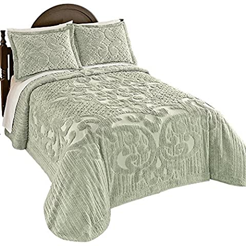 Ashton Chenille Bedspread, Sage, Full - Sage Green Chenille