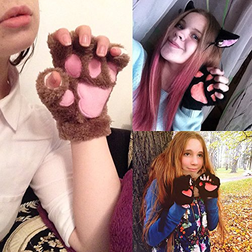 AStorePlus Cartoon Cute Bear Plush Cat Paw Claw Glove Soft Tiger Winter Fluffy Half Finger Gloves, Mouse Hands Warmer Mittens, Women Kids Anime Coplay Halloween Sketch Glove