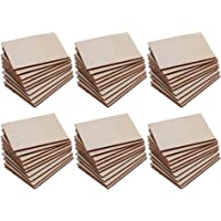 F Fityle 60 Pieces Wooden Square Rectangle Shapes Coasters Plain Wood Craft Blanks Square Plaque Sign DIY Pyrography Art Craft Woodworking Materials