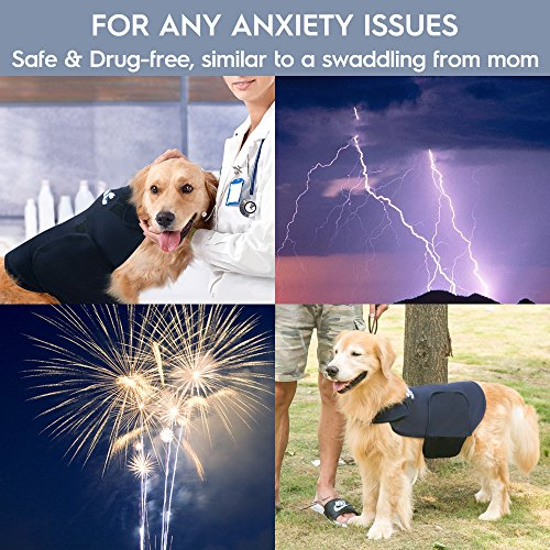 Eagloo Dog Anxiety Jacket Calming Vest for Dog Anxiety Shirt Dog Anxiety Calming Wrap Anti Anxiety & Stress Relief Lightweight Calming Coat for Pet for Thunder and Anxiety Navy Blue for Medium Breed