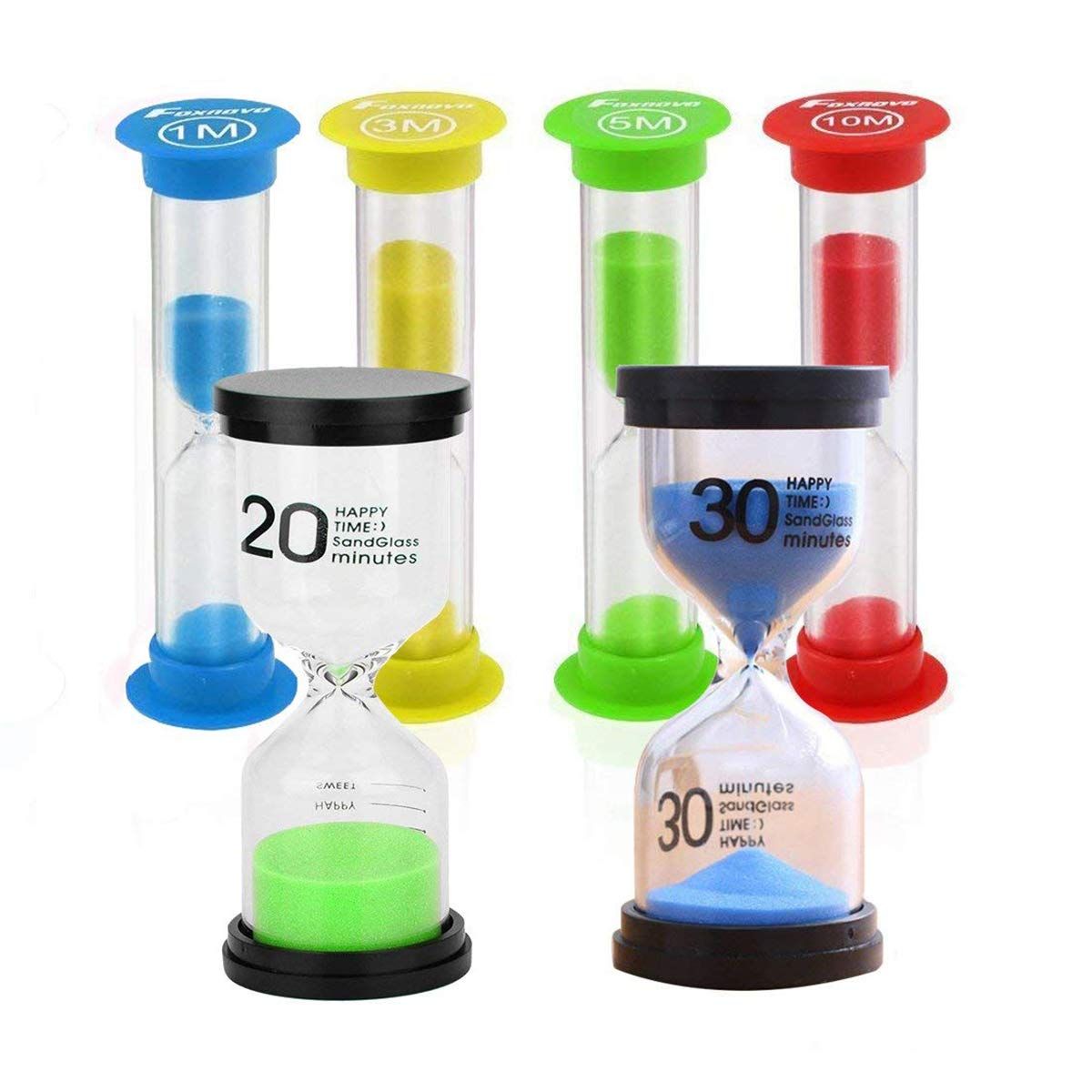 STONCEL Hourglass Sand Timer, 6pcs Sandglass Sand Clock Timer 1min / 3mins / 5mins / 10mins/20mins/30mins, Kids Toothbrush Timer for Children Playing Games Classroom Kitchen Office Decoration