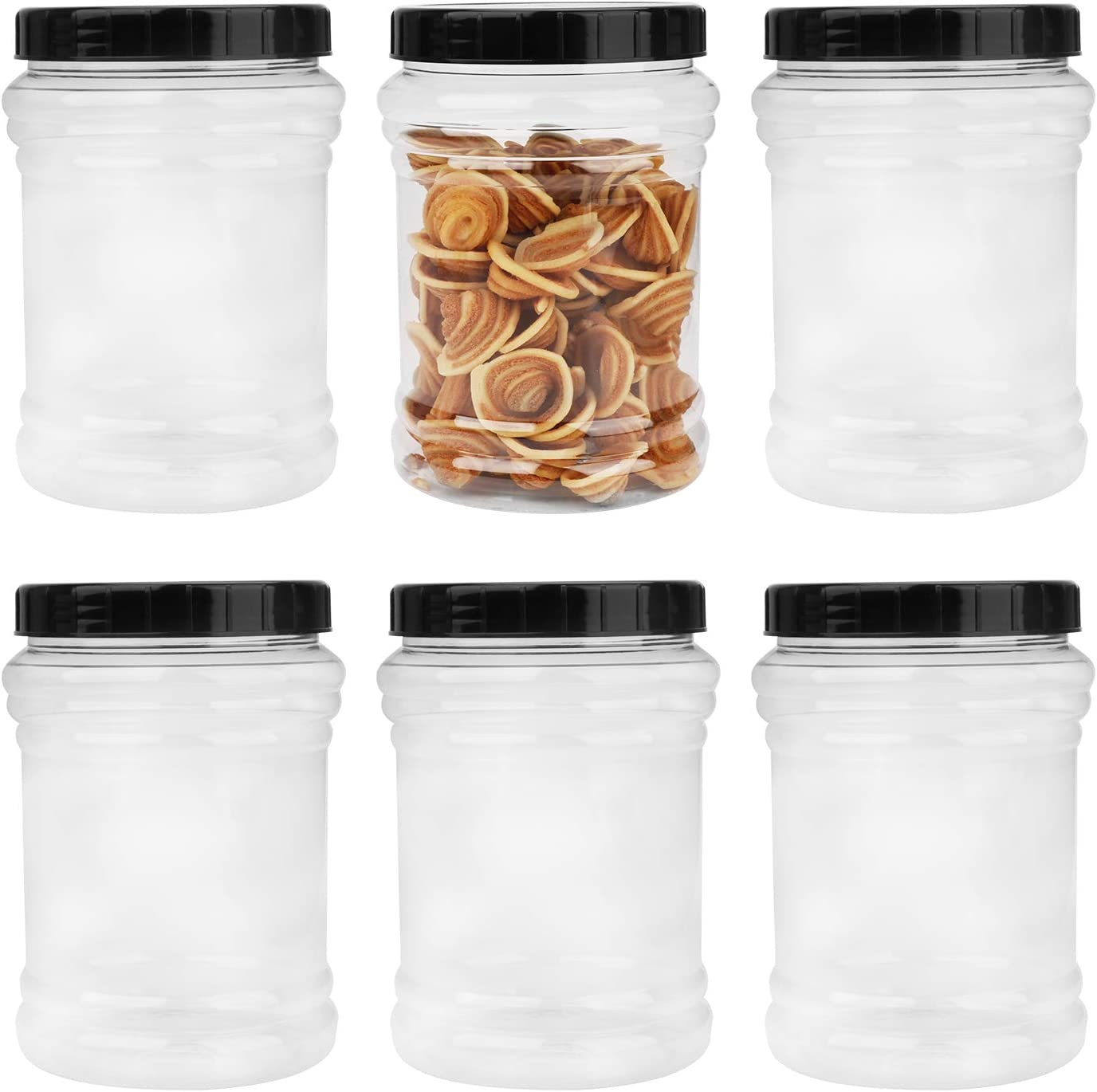 70oz / 2L Durable Plastic Jars, Accguan Clear Container for Food Storage, Airtight Plastic Jars Ideal For Dry Food, Dog Food and Washing Powder Storage, 6 PACK