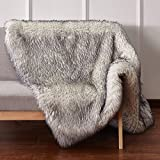 CHIC RUGZ 5X7 FOX WHITE/GRY Suede Backing Faux Fur Living Room Area Rug, 5′ x 7′ , White/Grey Review