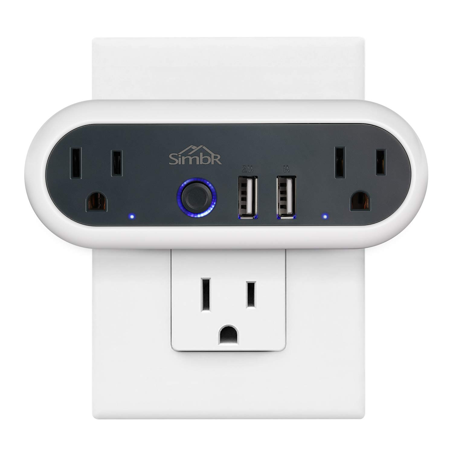 SIMBR Smart Wi-Fi -Plug, No Hub Required, Compatible with Amazon Alexa Google Home, Remote Control your Devices from Anywhere, Two Wi-Fi Sockets, Two USB Connectors