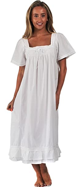 fd49fa7922 The 1 for U 100% Cotton Nightdress Short Sleeves - Evelyn  Amazon.co.uk   Clothing