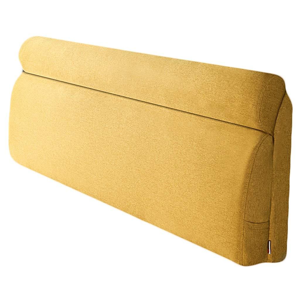 ベッドサイド ヘッドボードベッドサイド背もたれヘッドレスト枕布張り腰パッド用取り外し可能、5サイズ、4色用大型クッション (色 : 黄, サイズ さいず : 190x60cm) B07R8XLG5J 200x60cm|黄 黄 200x60cm