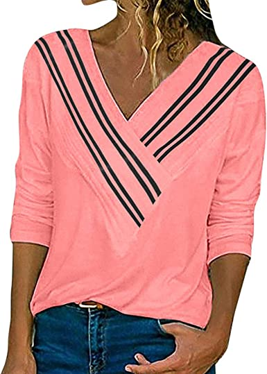TOPKEAL Blusa con Estampado de Rayas para Mujer Suelta Tops de Manga Larga Casual de Color Liso para Damas Jovencita