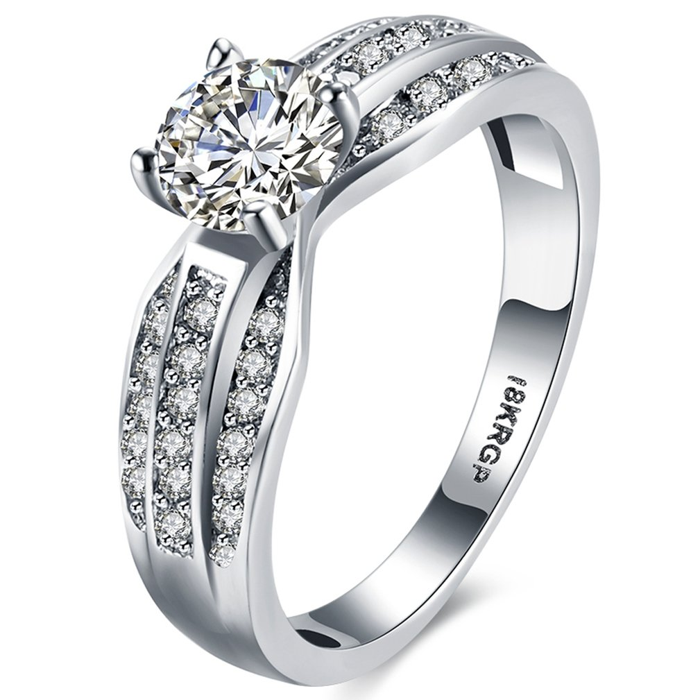 Women Wedding Engagement Rings 18K White Gold Plated Round Cut Created Cubic Zirconia Diamond Bands Anniversary Bridal Shinning Rings Fashion Jewelry Love for Her Size 9