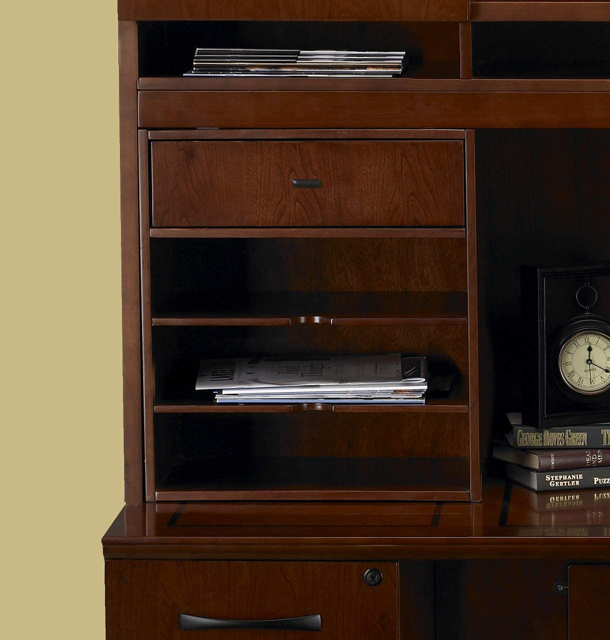 Compartments sold separately 1 Drawer and 3 Horiz Mayline Sorrento Hutch Desktop Organizer Cabinet for use with Hutch Espresso Veneer