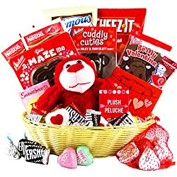 Valentine's Day Gift Basket - Chocolates, Candy, Hearts - College Variety Bundle - Gift Assortment