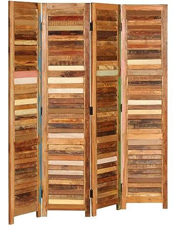vidaXL Biombo de Madera Maciza Reciclada 170 cm Divisor Ambientes Mobiliario