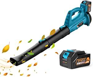Leaf Blower - EKACO 21V 320 CFM 150 MPH Cordless Leaf Blower with 4.0Ah Display Power Battery & Charger,2 Section Tubes, 6-Speed Dial for Dust,Snow Debris,Yard,Work Around The House