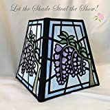 "Lampshade: Wisteria hand painted on fabric that looks like stained glass, 10"" square"