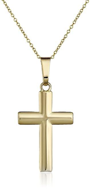 Amazoncom 14k Yellow Gold Cross Pendant Necklace 18 Men S Gold