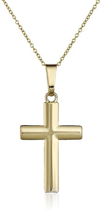 14k yellow gold cross pendant necklace 18 amazon 14k yellow gold cross pendant necklace 18quot aloadofball Gallery