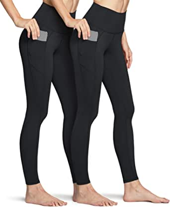 TSLA Women's Mid/High Waist Yoga Pants with Pockets, Tummy Control Yoga Leggings, Non See-Through Workout Running Tights