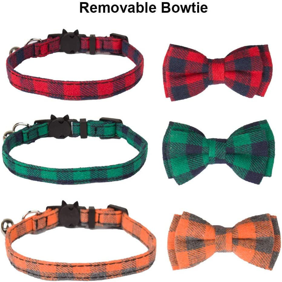ADOGGYGO Cat Collar Breakaway with Cute Bow Tie and Bell 3 Pack Pet Kitten Collar Classic Plaid Kitty Collar with Removable Bowtie Cat Bow tie Collar for Kitty Cat