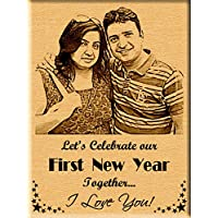 First New Year Gift - Engraved Wooden Photo Plaque