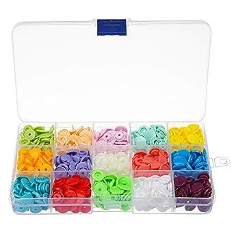 MJJEsports 15 Colores 150Pcs Plástico Resina Sujetador Snap ...