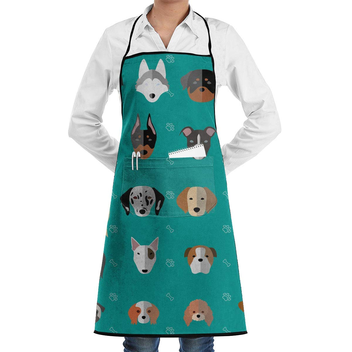QIAOJIE Dog Heads Cute Bib Apron for Women Men - Waterproof Chef Apron with Front Pocket for Kitchen Cooking Craft Baking