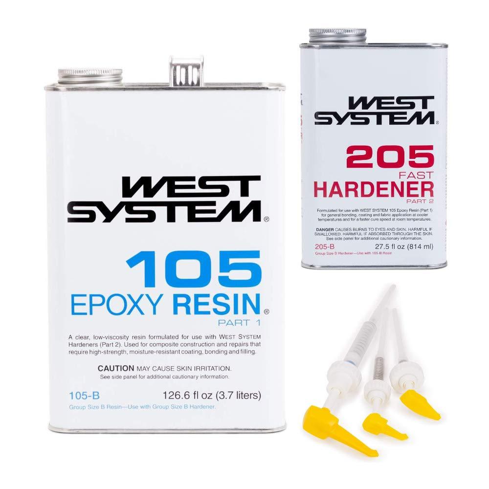 West System 105B Epoxy Resin (126.6 fl oz) Bundle with 205B Fast Epoxy Hardener (27.5 fl oz) and 300 Mini Pumps Epoxy Metering 3-Pack Pump Set (3 Items)