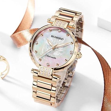 FNCUR Reloj, Mujer De Oro Rosa Diamante De Mujer De Cuarzo Reloj ...