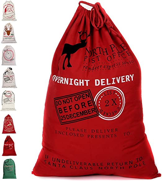 Good 1pcs Christmas Drawstring Canvas Santa Sack Rustic Red Gift Bag Decor