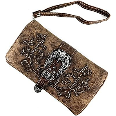 Justin West Tooled Laser Cut Leather Floral Embroidery Rhinestone Buckle Studded Shoulder Concealed Carry Tote Style Handbag Purse (Brown Brown Wallet)