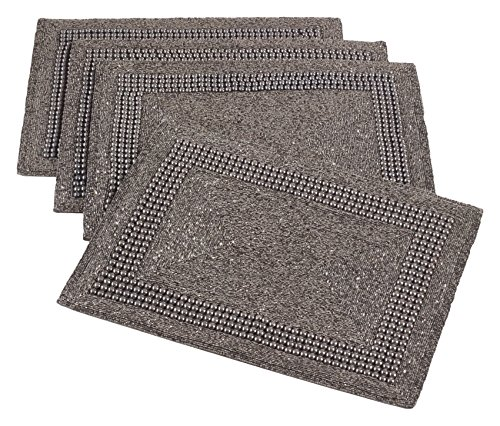 Saro LifeStyle 3270.PW1318B  Beaded Design Placemat , Pewter, 13''x19'' (Set of 4 pcs) by SARO LIFESTYLE