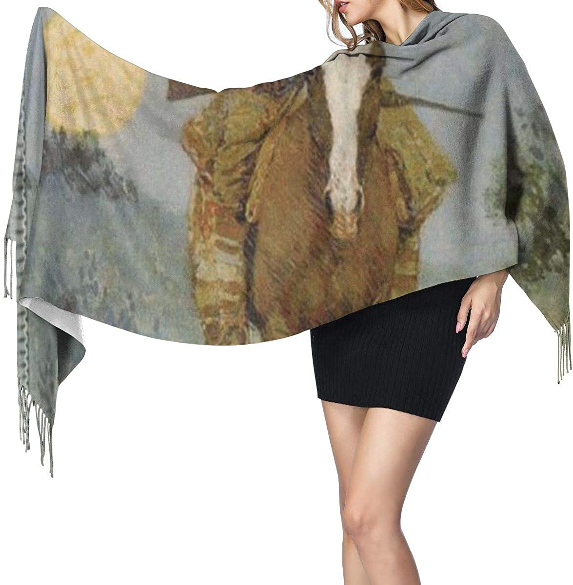 Fashion Lady Shawls,Comfortable Warm Winter Scarfs Art Painting Of The Outlier Soft Cashmere Scarf For Women 1909 By Frederic Remington