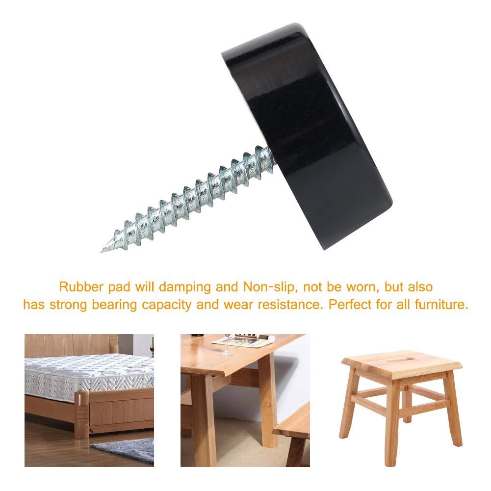 widerstehen L/ärm Filz M/öbel Pad f/ür Holzboden GLANICS Stuhl Bein Bodenschutz 36 Pack Schraube auf M/öbel gleitet 25mm x 23mm x 9mm, Schwarz mit Schraubendreher