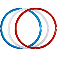 TOOGOO Silicone Sealing Ring for Pressure Cooker Pot Accessories, Fits 5 Or 6 Quart Models, Red, Blue and Common Transparent White, Pack of 3