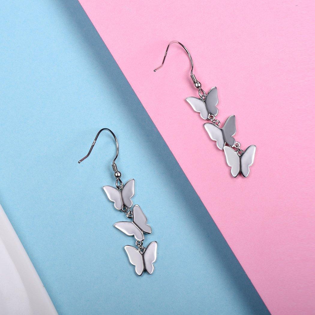 Silver Dangling Earrings 925 Sterling Silver Butterfly Drop Earrings Fish-hook Backfinding by SILVERCUTE (Image #6)
