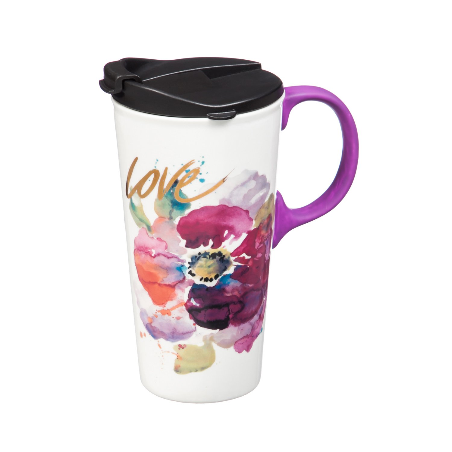 Cypress Home Love Watercolor Floral Ceramic Travel Coffee Mug with Metallic Accents and Gift Box, 17 ounces