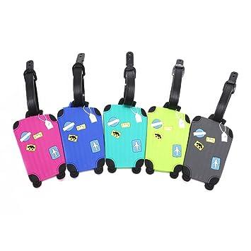 Equipaje Etiquetas, conjunto de 5, diseño de maleta dibujos animados etiqueta de equipaje ID Tag Identificador de dirección soporte para etiqueta de ...