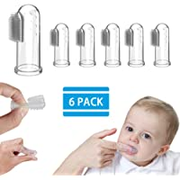 6 Pcs Baby Finger Toothbrush - White Silicone Finger Toothbrush for Toddlers, Soft Safe Oral Massage Finger Toothbrush for Kids, Childrens Silicon Finger Toothbrush with Transparent Bag